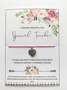 Christmas Teacher Gift Wish Bracelet School Cute Unusual Special Teacher