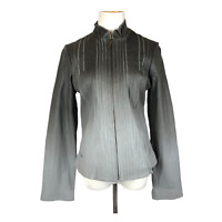 XCVI Size L Grey Ombre Leather Jacket Full Zip Fitted Long Sleeve *Flaws