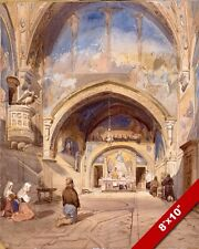 CHURCH OF SAN BENEDETTO CATANIA ITALY WATERCOLOR PAINTING ART REAL CANVAS PRINT