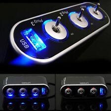 USB 3 Way Car Cigarette Lighter Socket Splitter DC 12V + LED Light Switch