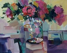 JOSE TRUJILLO IMPRESSIONISM OIL PAINTING STILL LIFE WITH ROSES PINK RED MODERN