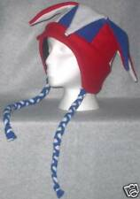 NEW fleece jester snowboarding hat red,wht,blue w/ties