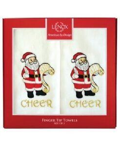 "Lenox Finger Tip Towels Set of 2 ""Cheer"" Santa Cheer Multi Color Fingertip Towel"