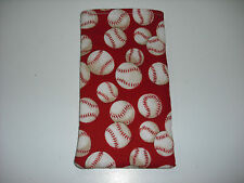 Sunglass / Eyeglass Soft Fabric Case - Red with White Baseballs - NEW!