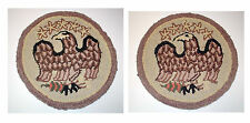 Early American Hooked Placemats 2 Federal Eagles Fine Condition 15""