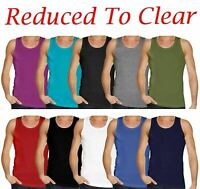 6 MENS VESTS 100% Cotton TANK TOP SUMMER TRAINING GYM TOPS PACK PLAIN S-4XL