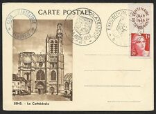 France 1949 Philatelic Exposition Senonias potcard with Exhibition postmarks