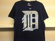 DETROIT TIGERS NAVY BLUE T SHIRT SZ L MEJESTIC TRIPLE PEAK MLB BASEBALL
