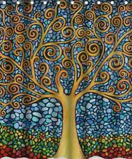 Colorful Tree Fabric Shower Curtain 3-D Digitally Printed Design 100% Polyester