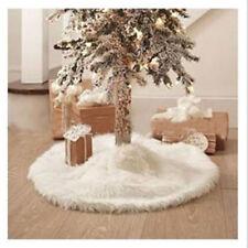 80cm Plush White Snowflake Christmas Tree Skirt Base Floor Mat Cover Gift Decor
