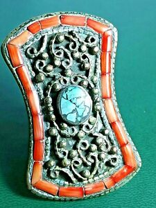 GORGEOUS POST MEDIEVAL ISLAMIC OTTOMANS SILVERED RING WITH HUGE RARE STONE