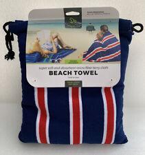 NEW Travelon Striped Red Blue Microfiber Terry Cloth Travel Beach Pool Towel