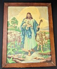Vintage Paint By Number Framed Picture Jesus Horizon Signed Religious Painting