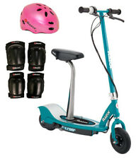 Razor E200S Seated Kids Electric Motor Toy Scooter w/ Safety Helmet & Knee Pads