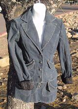 Guess Womens Med Blue Denim Jacket With Gromet Trim  Black Brocade Cuffs S