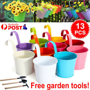 13x Metal Flower Pot Color Balcony Garden Wall Fence Hanging Plant Planter Tools