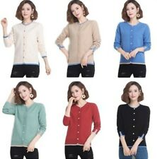 Women's Round Neck Buttons Cardigan Jacket Long Sleeve Slit Warm Sweater Tops B