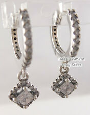 SQUARE SPARKLE Authentic PANDORA Drop DANGLE Earring HOOPS 298503C01 NEW w POUCH