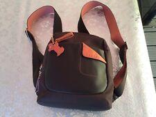 Radley Brown Canvas & Leather Back Pack Bag, With Orange Highlights &Hanging Dog