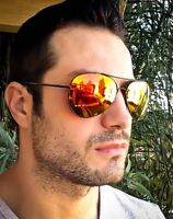 Men's Large Big Black Aviator Flash Mirror Lens Hipster Fashion Sunglasses 3480