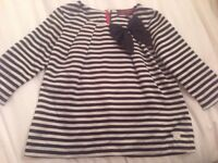 Ted Baker Girls Age 4 Years Black White Striped Bow Top