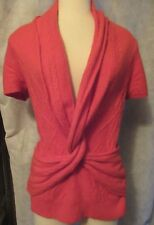Orange Sleeping on Snow Sweater S Vest Anthropologie Twisted Front Cable