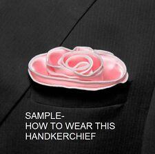 PINK Pocket square Round Handkerchief WHITE Trim Piping Border SILK NEW $45