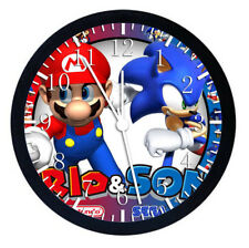 Super Mario Super Sonic Black Frame Wall Clock Nice For Gifts or Decor W53