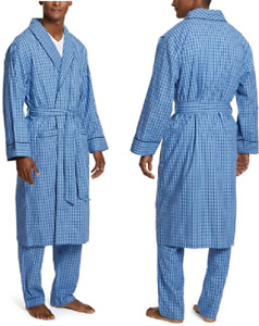 Mens Plus Size Shawl Collar 100% Cotton Woven Robe with Pockets,L/XL,Blue