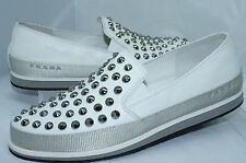 New Prada Women's Shoes White Flats  Size 36.5 Loafers Nappa Sport Lux Spike