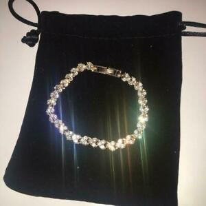 Womens Swarovski Element Crystal Bracelet Bangle Heart Rose Gold New