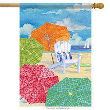 "Sunnyside Umbrellas House Flag Beach Nautical Surf Shore Sand 28"" x 40"""