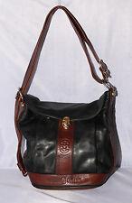 Vtg MARINO ORLANDI Black Brown Leather Bucket Convertible Sling Purse Bag ITALY