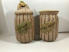 Vintage TILSO Numbered Ceramic Basket Weave Tea Bags Instant Coffee Containers