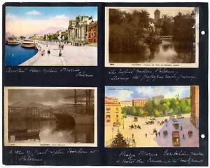 Palermo Lotto di 8 cartoline montate fronte/retro su foglio album 1900ca XL359