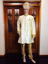 "44"" XL Sherwani Suit Silk Indian Bollywood Mens Kurtha Cream Bronze Gold HS8"