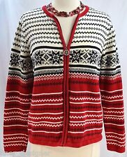 Villager Liz Claiborne ugly Christmas cardigan sweater full zip nordic SZ PM VTG