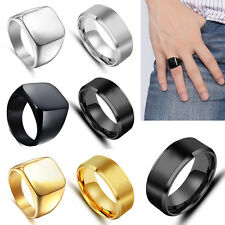 Size 7-14 Solid Polished Luxury Alloy Band Biker Mens Signet Ring Black Silver