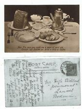"""CORNISH POST CARD CORNISH """"OGS"""" PUDDEN AND COFFEE"""