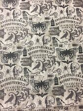 Halloween Gothic Ouija Fortune Teller Skull Skeleton Spider Bat Crow Fabric BTHY