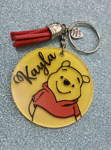Winnie the Pooh, Disney inspired personalised keyring. Handmade novelty gift!