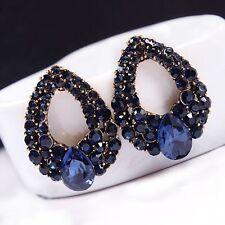 Women Vintage Style Fashion Blue Rhinestone Dangle Ear Stud Earrings Jewelry Top