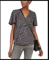 MICHAEL KOR'S NEW Women's Blue Black Print Long Sleeve ruffled top Size PM 8 10