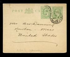 GB KE7 STATIONERY 1909 1/2d + 1/2d CORNWALL ST MERRYN RAILWAY S.O to USA