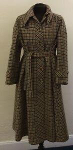 Vintage Dellbury Ladies Coat Size 12/14 Beige Check/Plaid