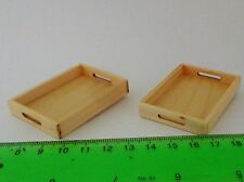 1:12 Scale 2 Wooden Tea Trays Dolls House Miniature Kitchen Accessory