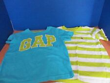 BABY GAP~Lot of 2 SHORT SLEEVE Tee T-SHIRTS~Blue Green White~Boys Size 4