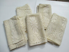 """Drapes Woven Curtains Panels Floral Off-White Pocket Top Set of 5 Vtg 23"""" x 48"""