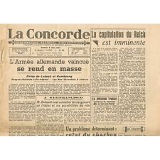 La CONCORDE 5 Mai 1945 Capitulation du REICH - L'Armée vaincue et Mort d'HITLER