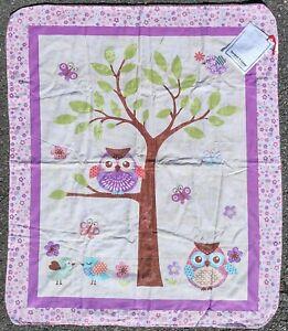 NEW Project Linus Handmade Pink/Purple Baby Blanket-Birds-Owls-Butterflies-Tree